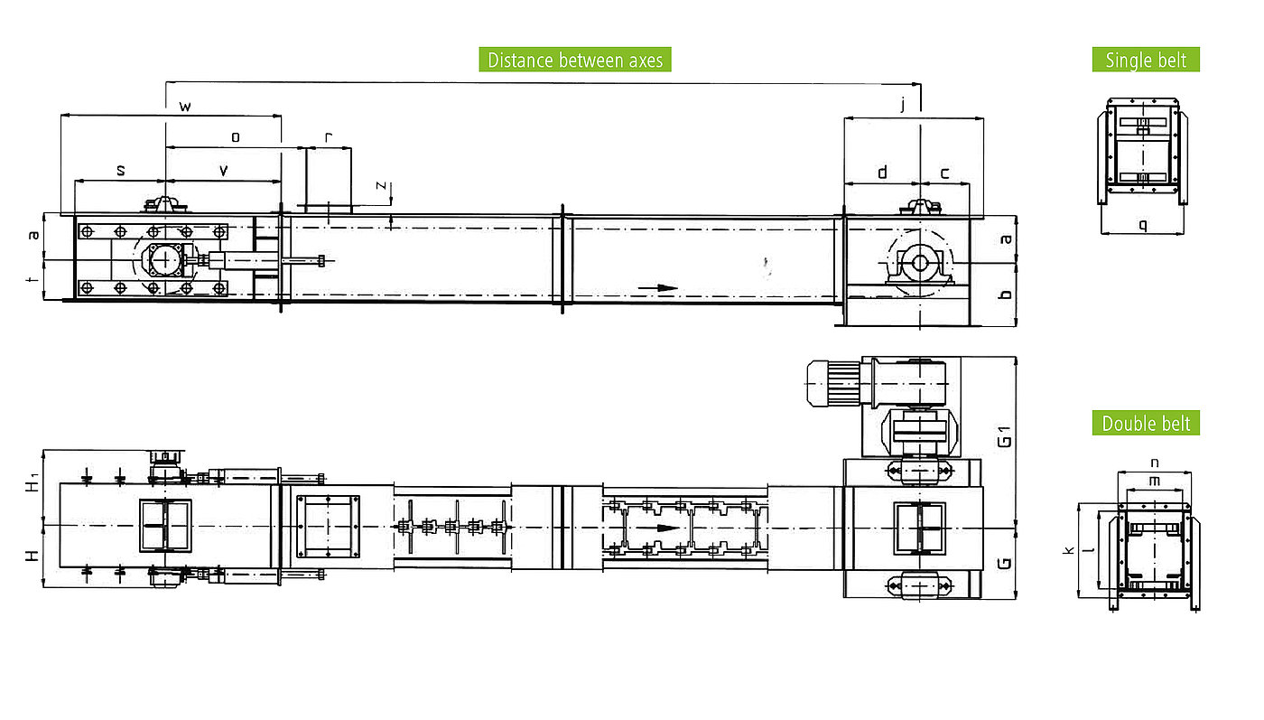 Technical drawing for trough chain conveyor